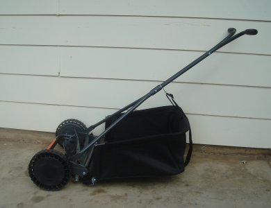 manual push mower and catcher